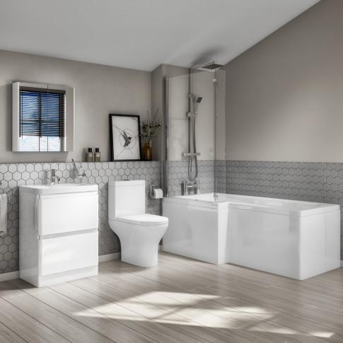 1700mm L-Shaped Bath Suite With Portland Close Coupl...