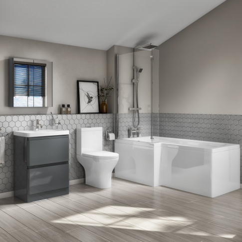 L-Shaped Left Hand Bath Suite With Close Coupled Toi...