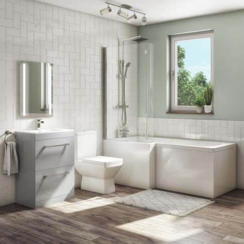 1700mm L Shaped Bath Suite With 600mm Vanity Unit An...