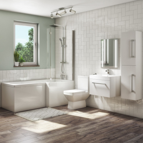 1700mm L Shaped Bath Suite With 600mm Wall Hung  Van...