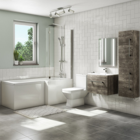 1700mm L Shaped Bath Suite With 600mm Wall Hung Vani...