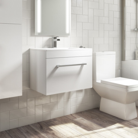 Wall Hung Vanity Unit With Basin 600mm - Single Draw...