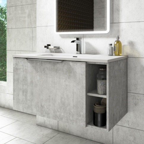 900mm Wall Hung Vanity Unit With Basin - Concrete Ef...