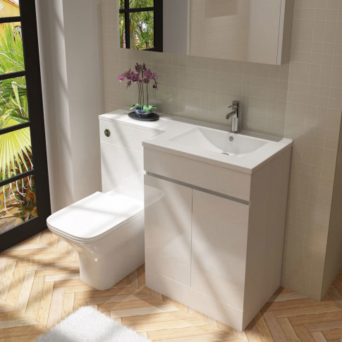 White Vanity Unit With Back To Wall Toilet Right Han...
