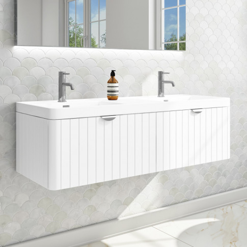 Empire 1200mm Wall Hung Double Vanity Unit With Basi...