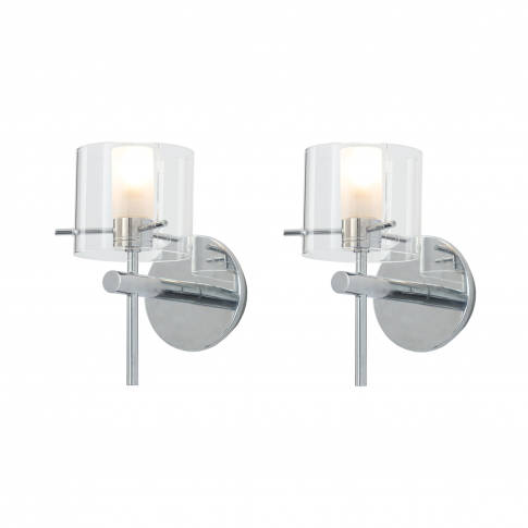 Baxenden Set Of 2 Modern Round Wall Lights With Clea...