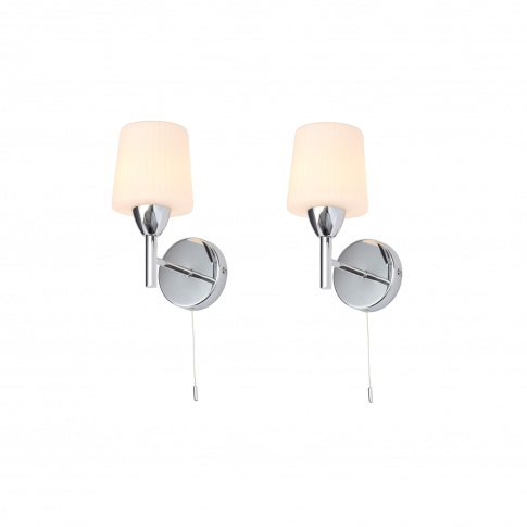 Aquarius Set Of 2 Wall Lights With Frosted Ribbed Gl...
