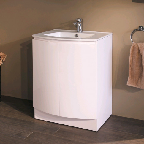 620mm Floor Standing Basin Vanity Unit - White Doubl...