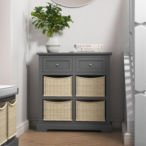 Elms Farmhouse Grey Shoe Cabinet Sideboard With Wick...