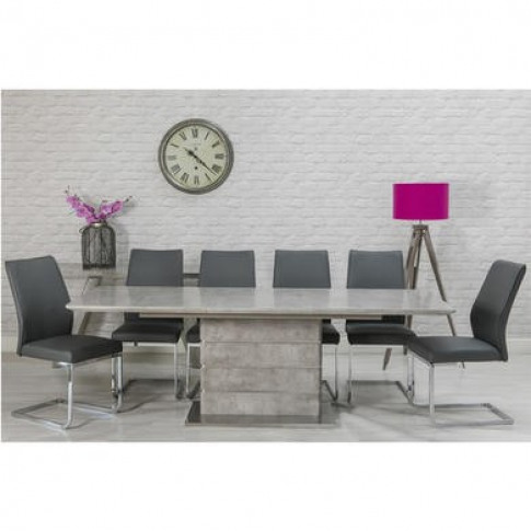Extendable Dining Table & 6 Grey Faux Leather Chairs