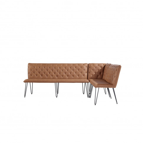 Large Tan Dining Bench With Studded Back