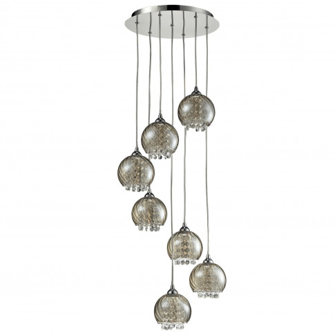 7 Pendant Lights With Silver & Glass Beads - Cascade