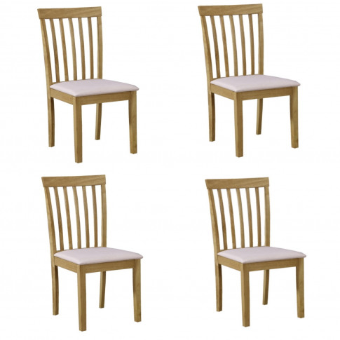 4 New Haven Wooden Dining Chairs With Cream Fabric S...