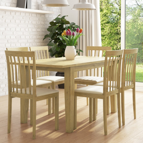 New Haven Set With Oak Extendable Dining Table & 6 C...