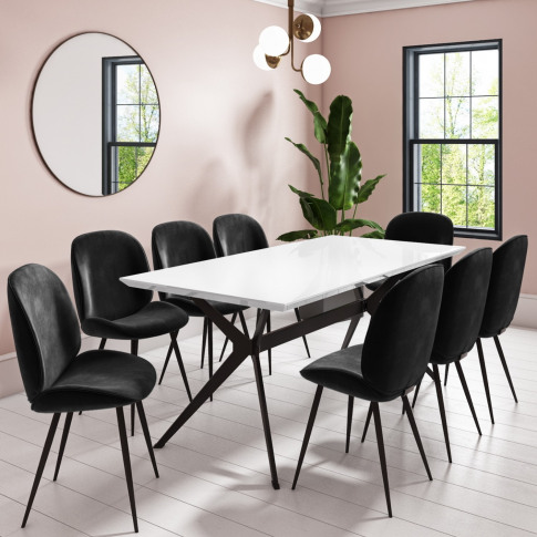 Rochelle White High Gloss Dining Table With 8 Jenna ...