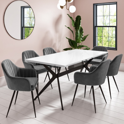 White Gloss Dining Table With 6 Logan Grey Velvet Di...