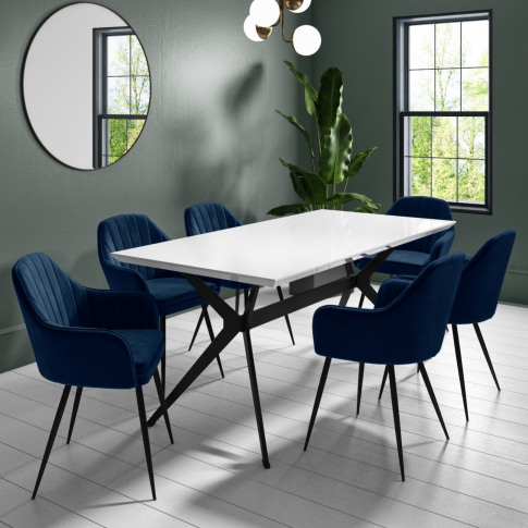 Rochelle White High Gloss Dining Table With Black Le...