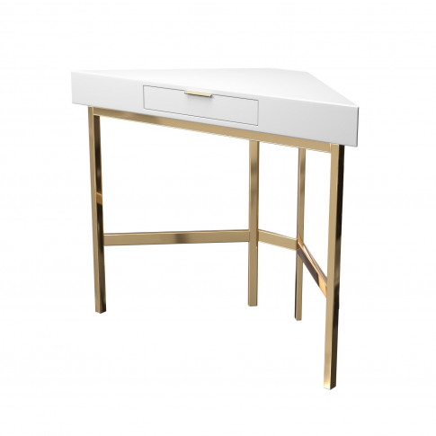 White High Gloss Dressing Table With Gold Legs - Roxy