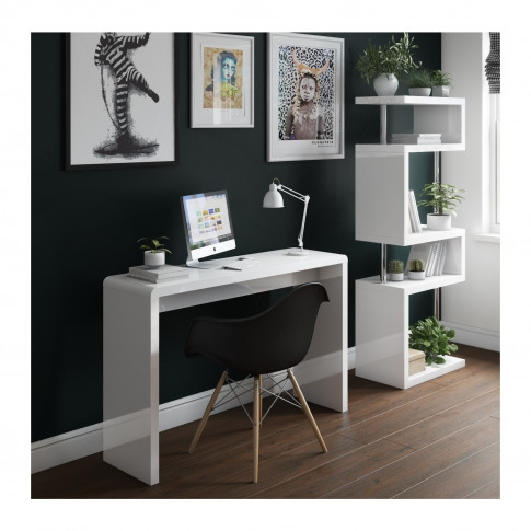 White Office Desk In High Gloss - Artemis Range