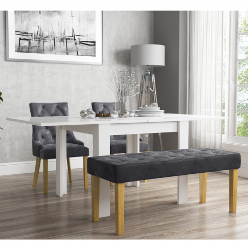Flip Top Dining Table In White High Gloss With 2 Gre...