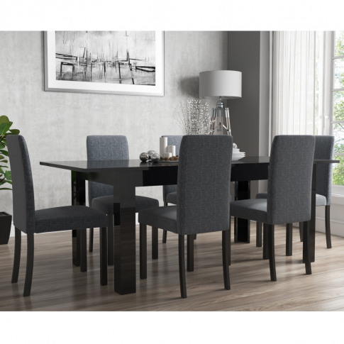 Extendable Dining Table In Black High Gloss With 6 G...