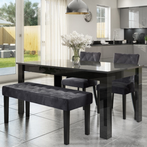 Extendable Dining Table In Black High Gloss With 2 G...