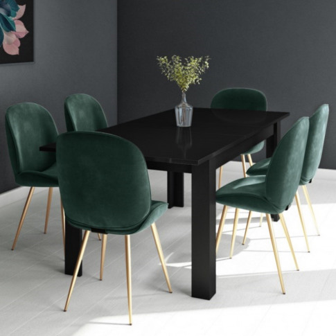 Black Extendable Dining Table With 6 Gold & Green Ve...