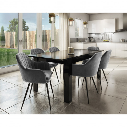 Extendable Dining Table In Black High Gloss & 6 Grey...