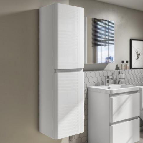 1400mm White Gloss Wall Hung Tall Boy Storage Unit -...