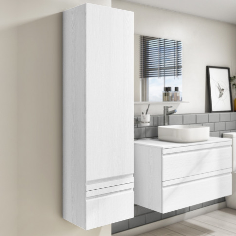 400mm Wall Hung 2 Door Storage Unit White - Boston