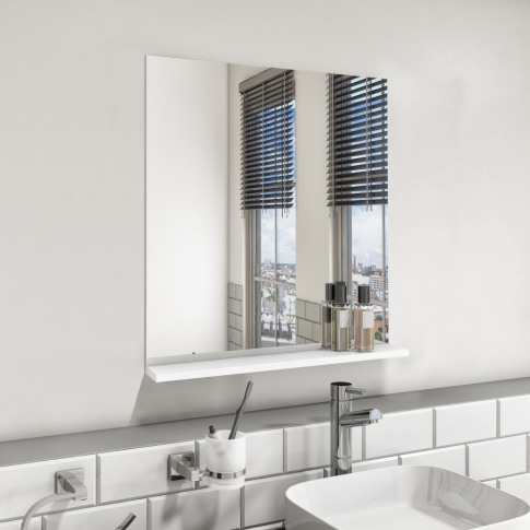 600mm White Mirror With Shelf - Boston