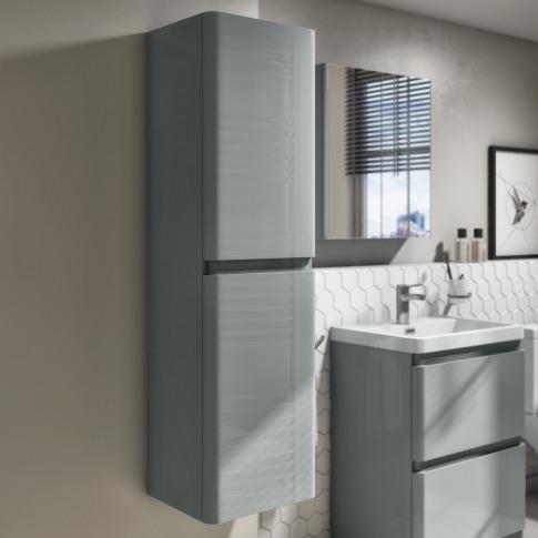 1400mm Light Grey Gloss Wall Hung Tall Boy Storage U...