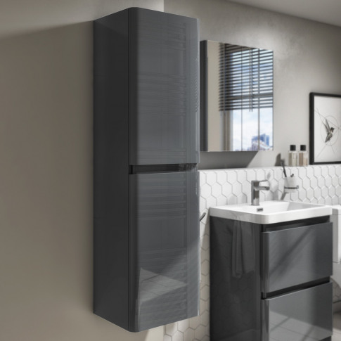 1400mm Dark Grey Gloss Wall Hung Tall Boy Storage Un...