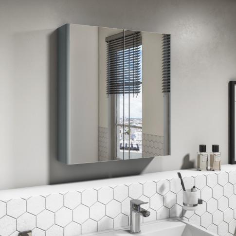 600mm Wall Hung Mirrored 2 Door Cabinet Gloss Light ...