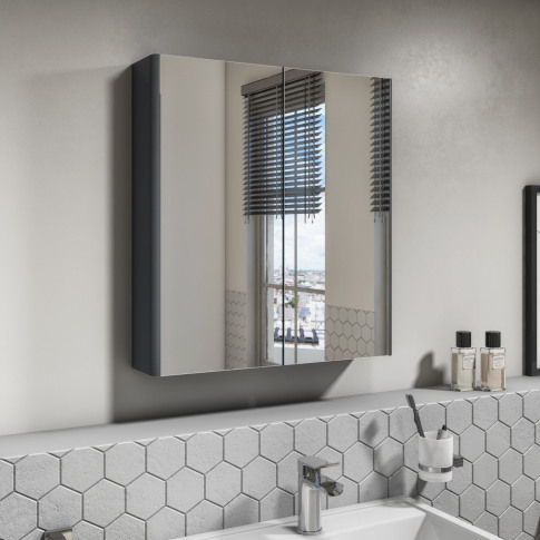 600mm Dark Grey Gloss Wall Hung Mirrored 2 Door Cabi...