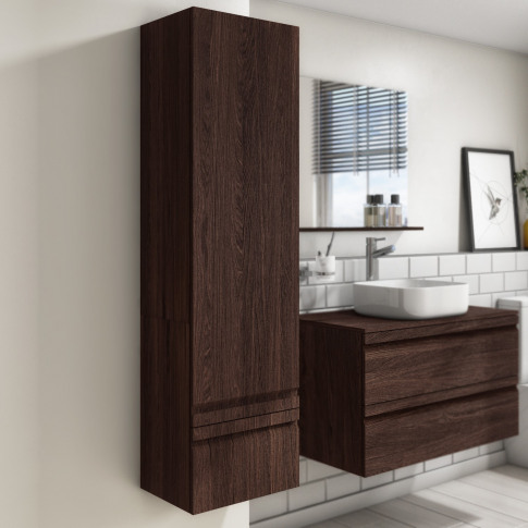 400mm Wall Mounted 2 Door Storage Unit Dark Oak - Bo...