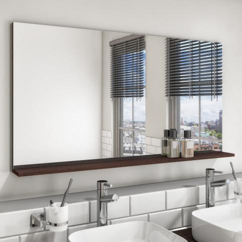 1200mm Dark Oak Mirror With Shelf - Boston