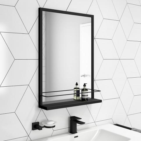 Rectangle Black Frame Mirror With Shelf 500 X 700mm ...