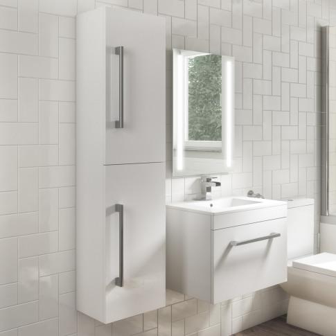 1400mm Wall Hung Tall Boy Bathroom Cabinet - White - Ashford