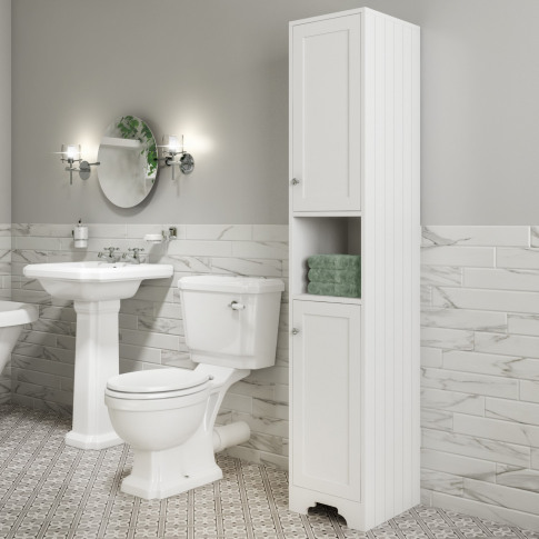Traditional Tall Boy Bathroom Cabinet - Doors & Shel...
