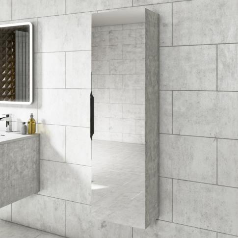 500mm Wall Hung Tall Boy Mirror Cabinet Concrete Eff...
