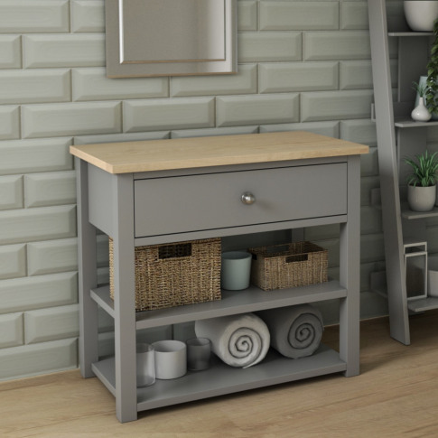840mm Grey Cabinet With Open Storage - Whitby