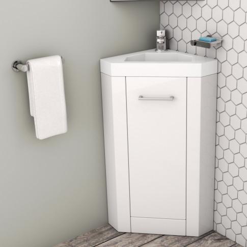 400mm Corner Vanity Unit With Basin - Single Door- W...