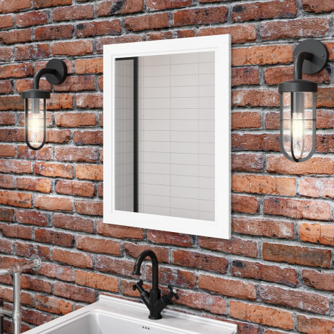 Matt White Framed Bathroom Mirror 550mm - Camden