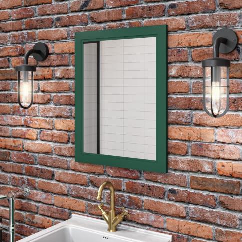 Matt Green Framed Bathroom Mirror 550mm - Camden