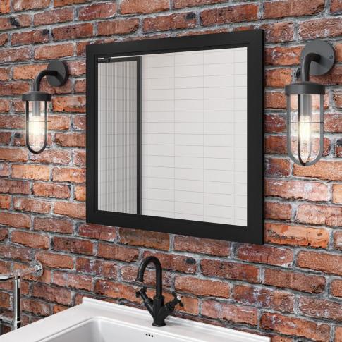 Matt Black Framed Bathroom Mirror 750mm - Camden