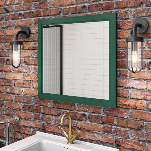 Matt Green Framed Bathroom Mirror 750mm - Camden