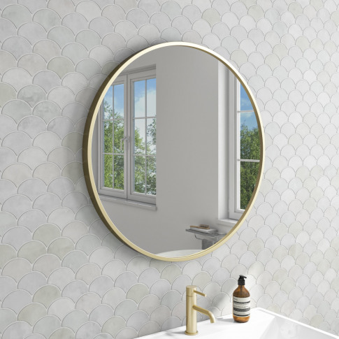 Brushed Gold Round Bathroom Mirror 800 X 800mm - Alcor