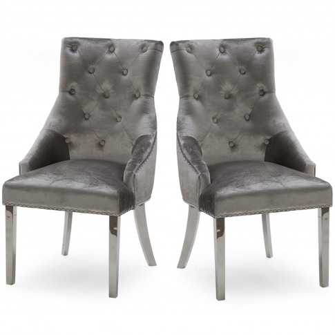 Pair Of Grey Velvet Dining Chairs With Silver Knocke...