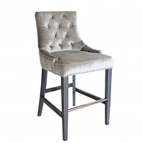 Silver Grey Velvet Bar Stool With Silver Studs & Kno...